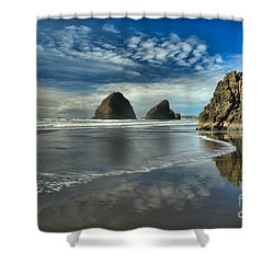 Oregon Sea Stack Surf Shower Curtain by Adam Jewell