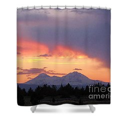 Shower Curtain featuring the photograph Oregon's Three Sisters  by Michele Penner