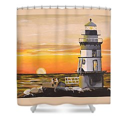 Orient Point Lighthouse Shower Curtain by Donna Blossom