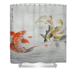 Original Animal  Oil Painting Art- Goldfish Shower Curtain