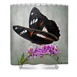 Original Animal Oil Painting Art-the Butterfly#16-2-1-09 Shower Curtain by Hongtao     Huang