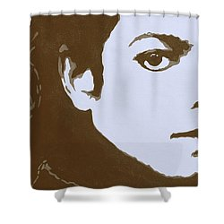 original black an white acrylic paint art- portrait of Michael Jackson#16-2-4-12 Shower Curtain by Hongtao     Huang