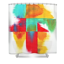 Original Bold Colorful Abstract Painting Indecisive By Madart Shower Curtain by Megan Duncanson