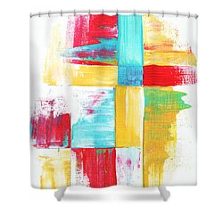 Original Bold Colorful Abstract Painting Patchwork By Madart Shower Curtain by Megan Duncanson
