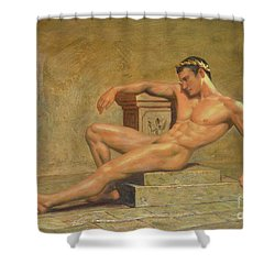 Original Classic Oil Painting Gay Man Body Art Male Nude -023 Shower Curtain by Hongtao     Huang
