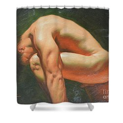Original Classic Oil Painting Man Body Art-male Nude -042 Shower Curtain by Hongtao     Huang
