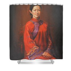 Original Classic Portrait Oil Painting Woman Art - Beautiful Chinese Bride Girl Shower Curtain by Hongtao     Huang