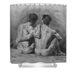 Original Drawing Sketch Charcoal Chalk Male Nude Gay Man Art Pencil On Paper By Hongtao Shower Curtain by Hongtao     Huang