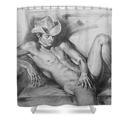 Original Drawing Sketch Charcoal Chalk Male Nude Gay Man On Sofa Art Pencil On Paper By Hongtao Shower Curtain
