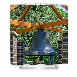 Shower Curtain featuring the photograph Original Fire Bell From The Superior Fire Dept In Wisconsin  1892  by Susan  McMenamin