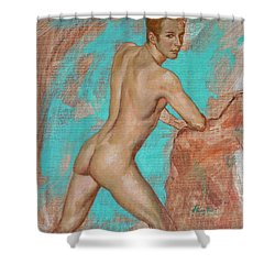Original Impression Man Body Oil Painting Male Nude On Canvas#16-2-6-05 Shower Curtain by Hongtao     Huang