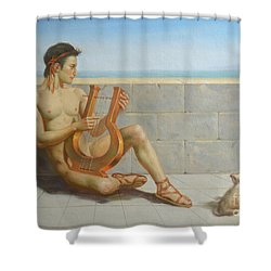 Original Oil Painting Gay Man Art-male Nude And Rabbit#16-02-5-41 Shower Curtain