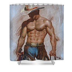 Original Oil Painting Gay Man Body Art-cowboy#16-2-5-19 Shower Curtain