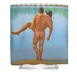 Original Oil Painting Man Body Art -male Nude By The Pool -073 Shower Curtain by Hongtao     Huang