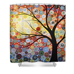 Original Painting Print Titled Celestial Sunset Shower Curtain