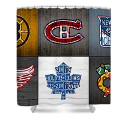 Original Six Hockey Team Retro Logo Vintage Recycled License Plate Art Shower Curtain