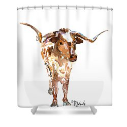 Original Longhorn Standing Earth Quack Watercolor Painting By Kmcelwaine Shower Curtain by Kathleen McElwaine