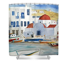 Shower Curtain featuring the painting Watercolor - Mykonos Greece Detail by Cascade Colors