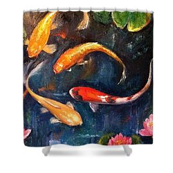 #originaloilpainting #artforsale #koi Shower Curtain