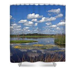 Orlando Wetlands Park Cloudscape 4 Shower Curtain by Mike Reid