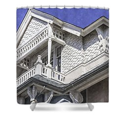 Ornate Balcony With View Shower Curtain by Lynn Palmer
