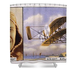 Orville Wright And Biplane Shower Curtain by Mary Evans Picture Library