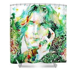 Oscar Wilde Watercolor Portrait.2 Shower Curtain by Fabrizio Cassetta