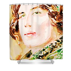 Oscar Wilde Watercolor Portrait.3 Shower Curtain by Fabrizio Cassetta