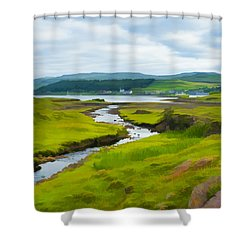 Osdale River Leading Into Loch Dunvegan In Scotland Shower Curtain