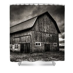 Oslo Corner In Black And White Shower Curtain