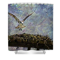 Shower Curtain featuring the photograph Osprey-coming Home by Belinda Greb