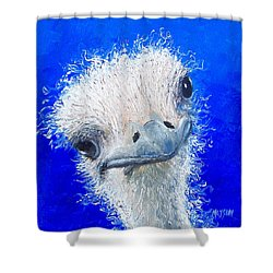 Ostrich Painting 'waldo' By Jan Matson Shower Curtain by Jan Matson