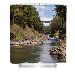 Shower Curtain featuring the photograph Ottauquechee River Flowing Through The Quechee Gorge by John M Bailey