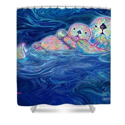 Shower Curtain featuring the mixed media Otter Family by Teresa Ascone