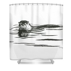 Otter In The Water Shower Curtain