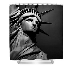 Our Lady Liberty In B/w Shower Curtain by Dyle   Warren