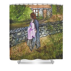 Our Lady Of Salem Shower Curtain by Virginia Coyle