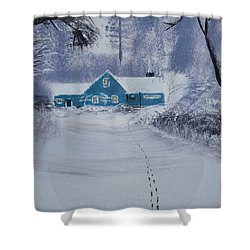 Shower Curtain featuring the painting Our Little Cabin In The Snow by Ian Donley