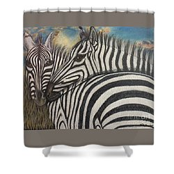 Shower Curtain featuring the painting Our Stripes May Be Different But Our Hearts Beat As One by Kimberlee Baxter