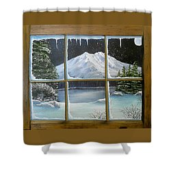 Out My Window-bright Winter's Night Shower Curtain by Sheri Keith