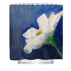 Shower Curtain featuring the painting Out Of The Blue by Jane  See