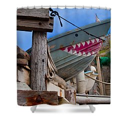 Out Of The Water - There's A Shark Shower Curtain by Bill Gallagher