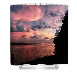 Out With A Roar Sunset Over Water Tarpon Springs Florida Shower Curtain