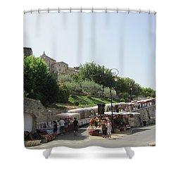Outdoor Village Market Shower Curtain by Pema Hou