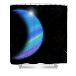 Outer Space Dance Digital Painting Shower Curtain by Georgeta Blanaru