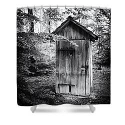 Outhouse In The Forest Black And White Shower Curtain