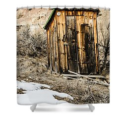 Outhouse With Electricity Shower Curtain by Sue Smith