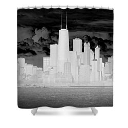Shower Curtain featuring the photograph Outline Of Chicago by Milena Ilieva