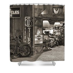 Outside The Old Motorcycle Shop - Spia Shower Curtain