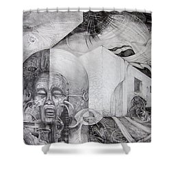 Shower Curtain featuring the drawing Outskirts Of Necropolis by Otto Rapp